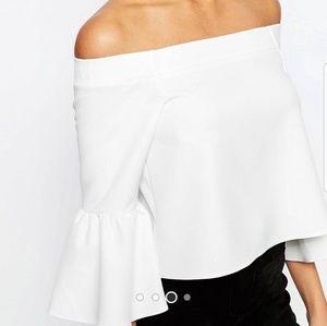 Asos tall white bardot shirt